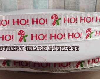 "3 yards of 3/8"" Christmas HOHOHO grosgrain ribbon"