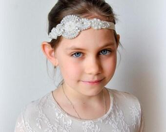 Flower girl Rhinestone Headband Set Baby Headband, newborn Crystal Headpiece, flower gril wedding sash , photo Flapper headband