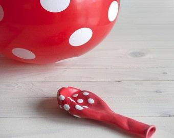 Balloons red polka dot - 8pcs