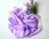 "Scarf silk handpainted, scarf Silk scarf ruffled Hand Dyed Scarf Batik Lilac silk with hand-painted. Size 19"" by 71""  Ready to ship."