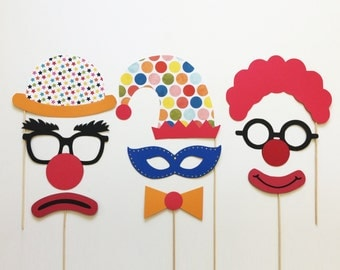 Circus Photo Booth Props Carnival Photo Booth Props Birthday Photo Booth Props Clown Photobooth Props Set of 9