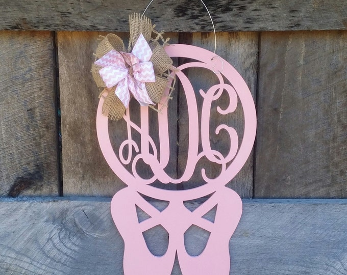 Monogram Ballet Slipper Door Hanger - Ballerina Door Hanger - Personalized Door Hanger