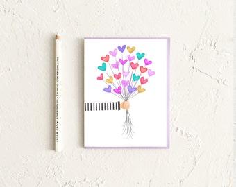 Get Well Soon Card, Balloon Card, Sympathy Card, Friendship Card, Birthday Card for Kid, Encouragement Card, New Baby Card