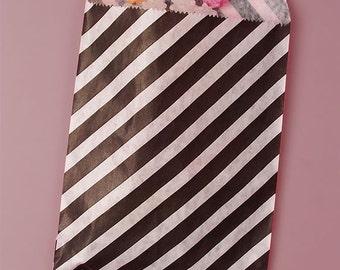 """5-1/8"""" x 6-3/8"""" Black Diagonal Stripe Candy Bags - 20 Quantity"""