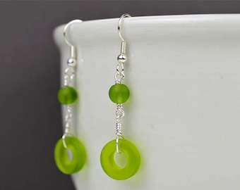 Green sea glass earrings lime green sea glass jewelry beach glass frosted glass recycled glass jewelry handmade earrings wire wrapped gift