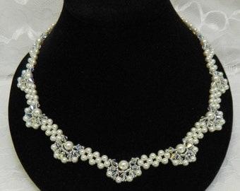 Swarovski Beaded Crystal Bridal necklace,Beaded Bridal Beaded Swarovski necklace,Wedding necklace Pearl Bridal - Elegant Pearl Necklace