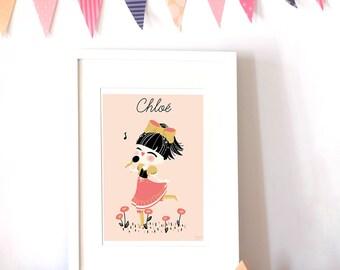 custom art print for kids  -  The Little Singer