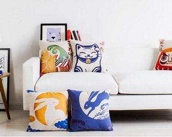Lovely pillow cases Japanese mascot set crane/rabbit/fortune cat etc