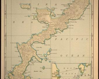 Vintage Map Okinawa Southeast Asia Japan 1945 WWII
