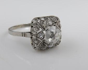 Edwardian Platinum Rose Cut Diamond Wedding Engagement Ring. 1 CTW.