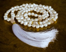White mala beads | Tassel necklaces | Pearl necklace | Bohemian beaded | Very long mala | Rose quartz | Heart chakra | Mindfulness jewelry