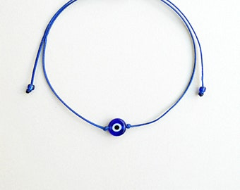 Blue,Evil eye bracelet,String bracelet,Made in Greece,Devil's eye protection,Kids bracelet,Adjustable,Mati bracelet,Minimalist,Lucky amulet