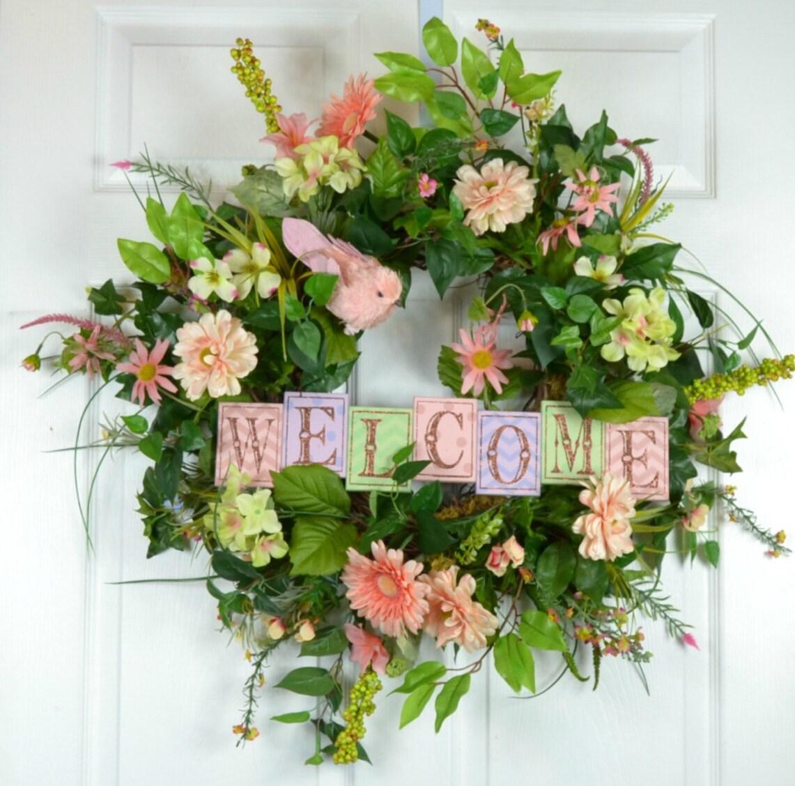 spring front door wreath spring outdoor wreath spring. Black Bedroom Furniture Sets. Home Design Ideas