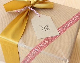 Kraft gift tags With Love - Christmas, anniversary gift - buffered hand