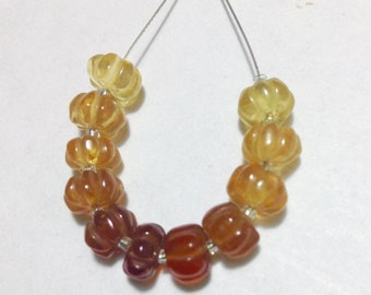 Carved Melon Shaded Hessonite Garnet Beads