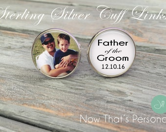 STERLING SILVER Father of the Groom Cufflinks - Custom Photo Cuff Links - Picture Cuff Links - Father of the Groom cuff links - sterling