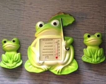 Vintage Miller Chalkware Frogs with Bathometer, Set of Three