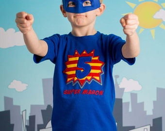 Boy's Superhero Birthday Shirt with Number Burst and Name