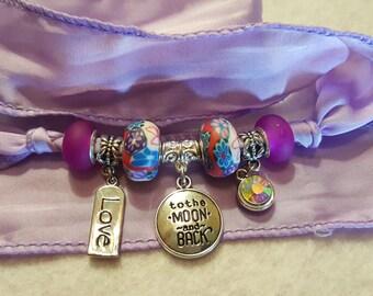 Love Charm Silk Wrap Bracelet, Lavender Wrap Bracelet, European Bead Bracelet,