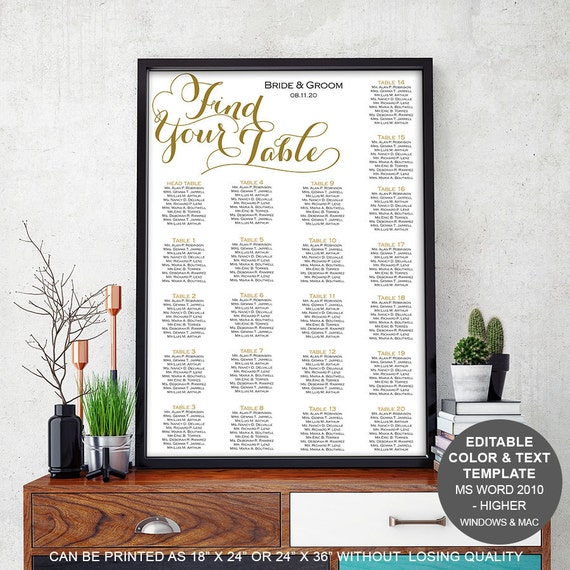 Modern rustic wedding Table seating chart template seating – Seating Chart Poster Template