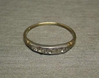 Antique Estate C1940 14K White Yellow Gold 0.20TCW Old European cut Diamond Wedding Band Sz 5