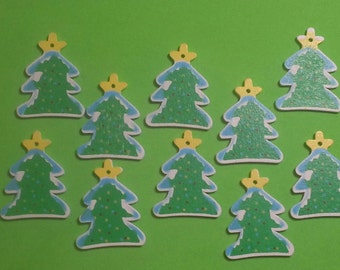 Christmas Tree Charm/Ornaments/Decorations/Pendants-Painted Wood Christmas Trees-10pc Set-37mmX28mm
