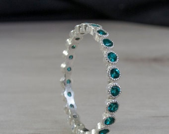 Blue Green Emerald Eternity Ring - Eternity band - Gemstone ring - May birthstone - stacking ring - White Gold ring