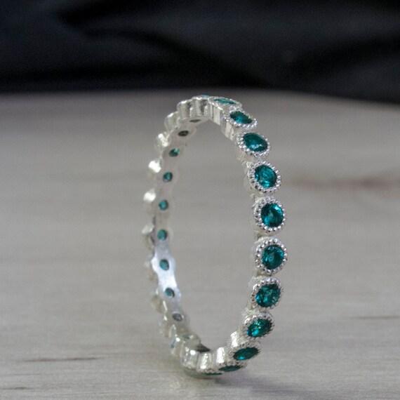 Blue Green Emerald Eternity Ring Eternity Band Gemstone