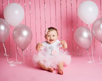 Baby Girl's 1st Birthday Outfit - Baby First Birthday - First Birthday Bodysuit Tutu and Headband - Silver 1 and Pink Tutu Birthday Outfit