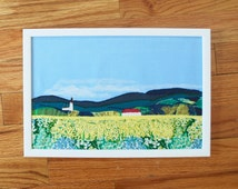 Yellow flower field art - Hand Embroidery - Framed Textile Art - Recycled Art