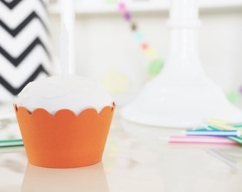 ORANGE Cupcake Wrappers - Set of 24