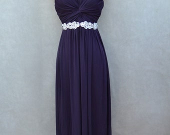 Plum Evening Gown with Sequins Belt Detail