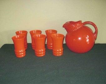 On Sale Vintage Reddish Orange Art Deco Glass Pitcher And 6 Matching Glasses Set 1960s