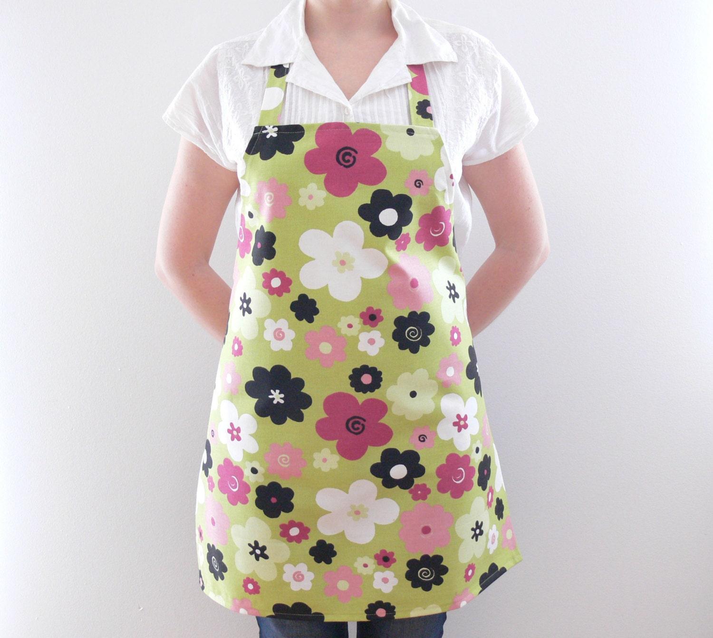 Green White Apron Womens Aprons Full Cotton Apron Kitchen