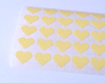 50 Light Yellow Heart Stickers, Heart Planner Stickers, Heart Envelope Seal, Heart Party Stickers, Heart Wedding Stickers, Birthday Stickers