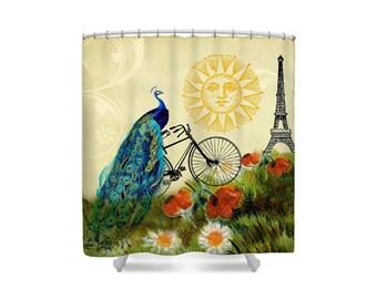 Peacock Decor, Shower Curtain, Paris Decor, Bathroom Decor, Whimsical Decor, Bohemian Decor, Bicycle Decor, Eiffel Tower, Bike Decor