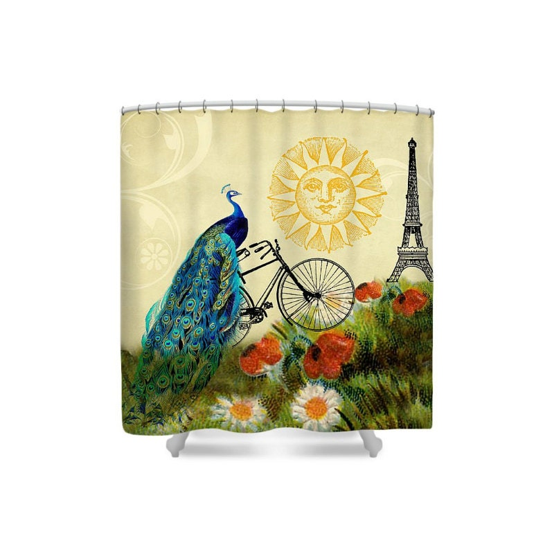 Peacock Decor Shower Curtain Paris Decor Bathroom Decor