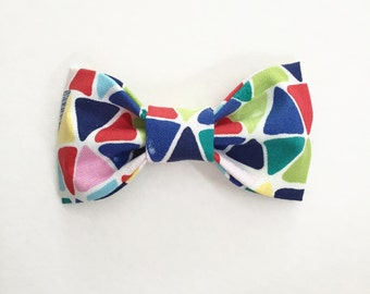 SALE - 20% Off. Summer Triangles Kids Bow Tie // Girls Hair Bow / Summer Baby Shower / Colorful & Bright / Boys Clip on Bow Tie