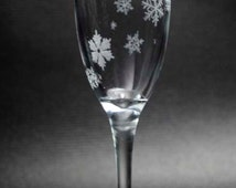 Swirling Snowflake Champagne Flutes. Set of 2. Hand Engraved. Custom Made To Order With Free Personalization