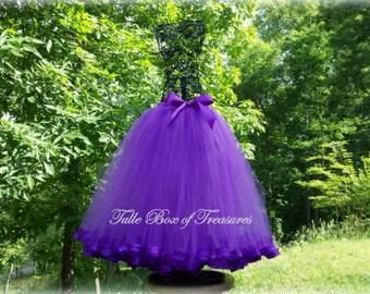 PURPLE Satin Ribbon Trimmed Long Tutu Skirt