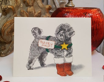 Portuguese Water Dog Holiday Card