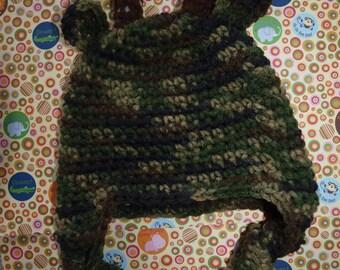 baby hunting hat, baby deer hat, crochet baby deer hat, handmade baby deer hat, deer baby hat 0, 3, 6, 9, 12 month, boy hunting hat, photo
