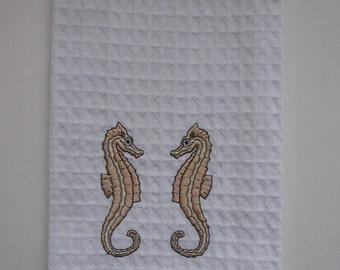SEAHORSES EMBROIDERD. Gold Seahorses.Kitchen Towel.Sea Life.Ocean Life.Ocean Life.Nautical Gift.