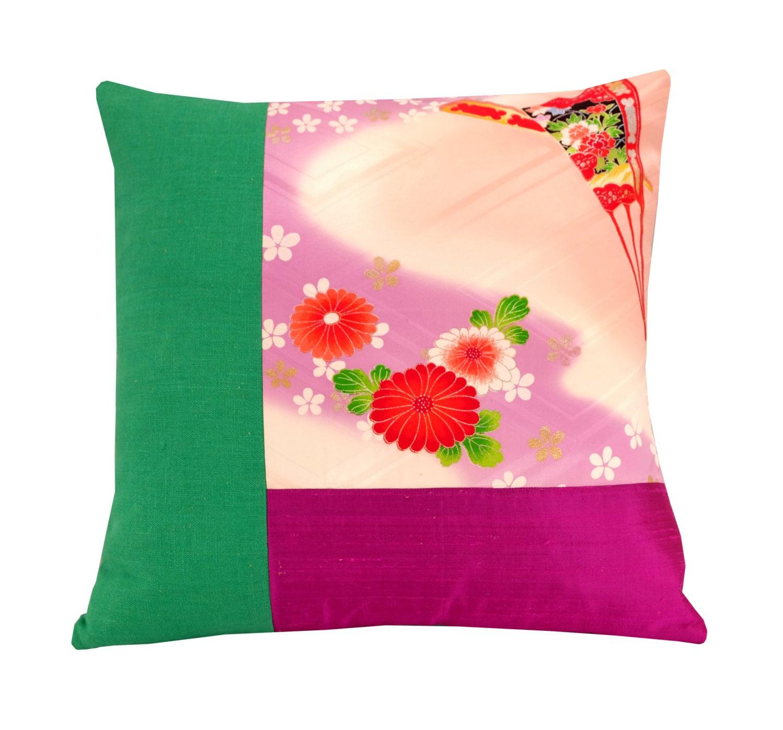 Oriental Throw Pillow Covers : Kimono Cushion Cover Oriental Throw Pillow 16x16 Pink and
