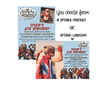 Avengers Birthday Invitation / Justice League Birthday Invitation / Superhero Digital Birthday Invitation / Photo / Printable / DIY / Boy