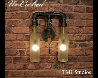 UnCorked - Modern Industrial Wine Bottle Chandelier Wall Sconce