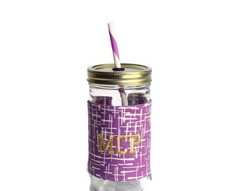 Purple Sketch Mason Jar Tumbler, Monogram Mason Jar Cup, Gifts for Her, Unique Gifts, Gifts Under 25, Monogram Gifts, Personalized Gifts