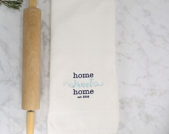 Home Sweet Home Kitchen Towel, Waffle Weave Kitchen Towel, Embroidered Kitchen Towel, Hostess Gift, Housewarming Gift,