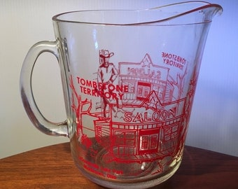 Retro Tombstone Territory glass beer pitcher from LeSourdsville Lake Park in Middletown, Ohio