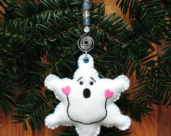 Happy Snowflake Wool Felt Ornament With Light Blue Beaded Hanger
